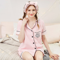Summer Women Maternity Dress Short Sleeved Shorts Maternity Suit Cotton Yarn Fashion V Collar Nursing Clothes Sleepwear Set A027