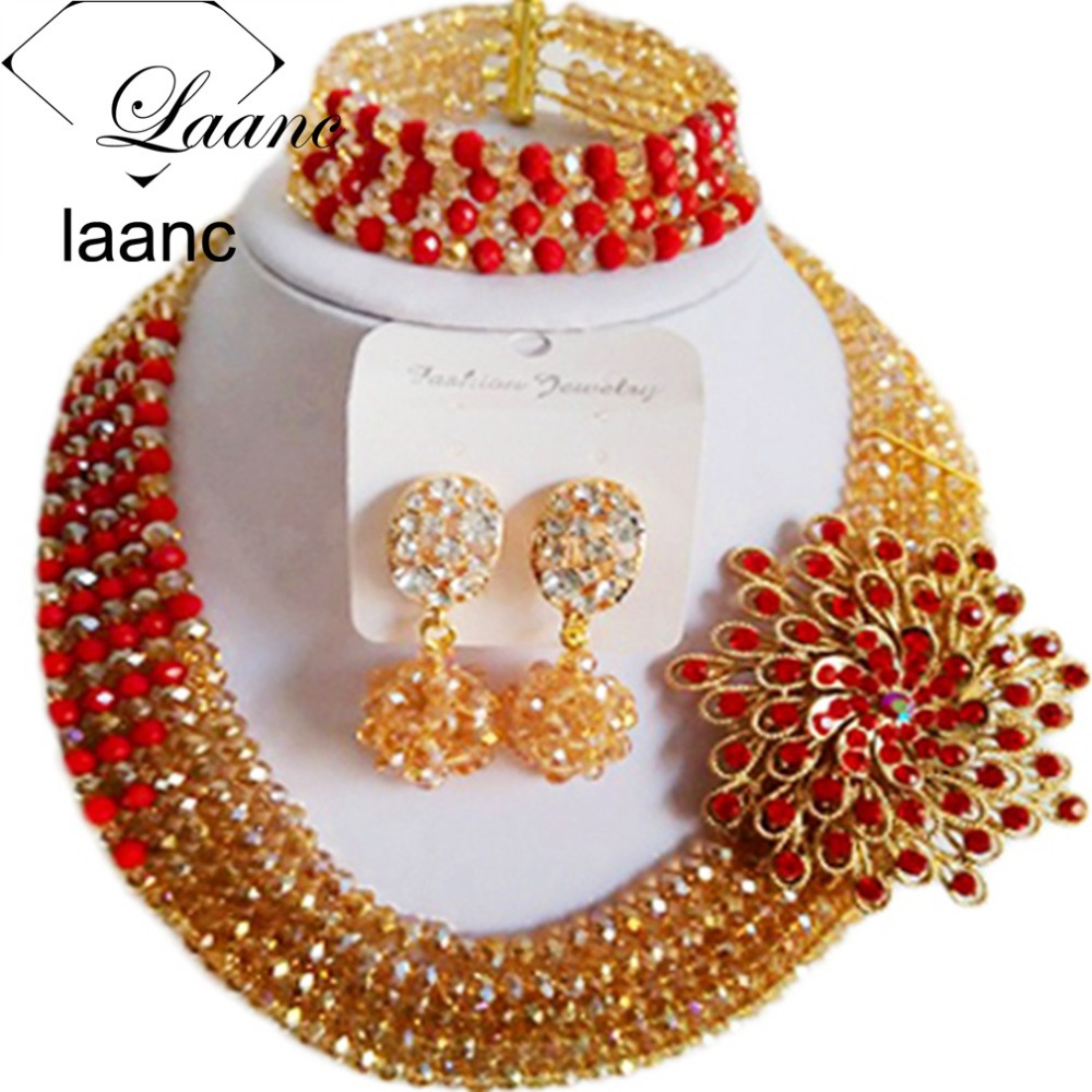 laanc african beads Store Laanc Brand Gold AB and Red African Costume Jewelry Set Nigerian Weddding Necklace and Earrings CB5R015