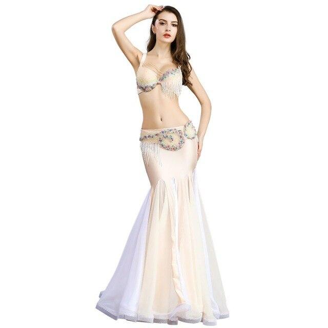 Nouveauté femmes danse du ventre Costume ensemble soutien-gorge haut ceinture jupe robe carnaval Bollywood dame Cocktail danse du ventre porter