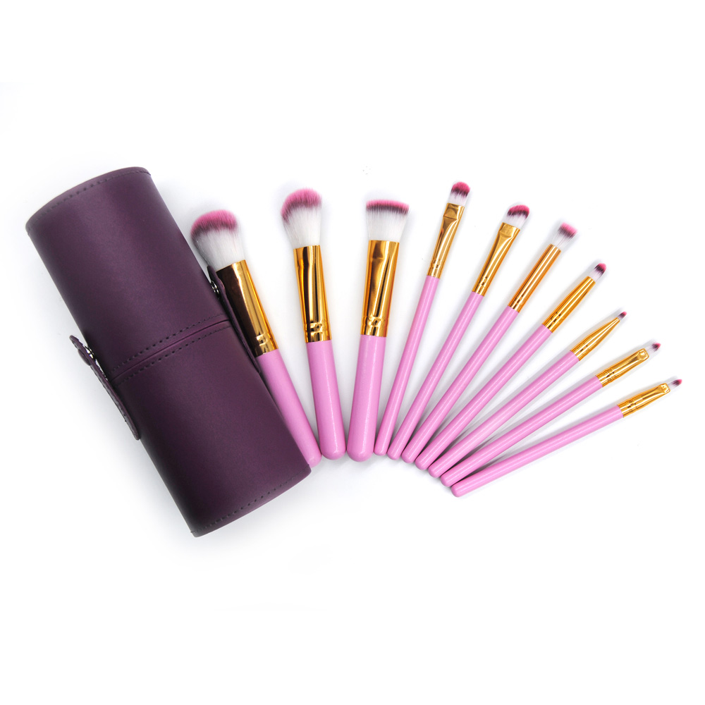 Makeup Brushes Kit 10Pcs Foundation Set Cosmetic Lip Beauty Tool Purple Leather Cup Brush Holder Maquiagem Pincel Brushes Sets dental kerr finishing polishing assorted kit occlubrush cup brushes
