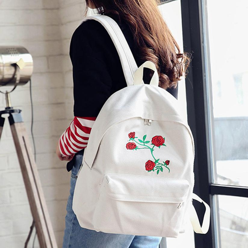 2017 Embroidery Rose Women Backpacks Fashion Canvas Lady Backpacks High Quality Girls Satchel Travel School Bag