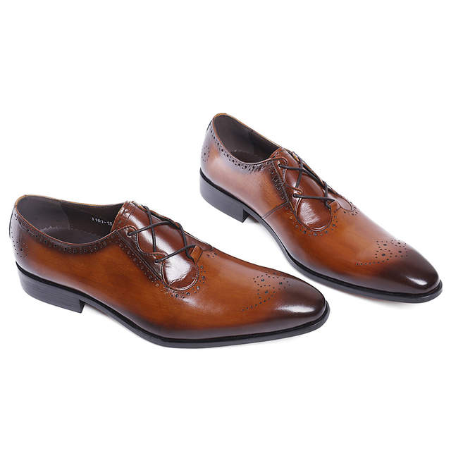 placeholder FELIX CHU Stylish Luxury Genuine Leather Men Brogue Shoes Brown  Black Oxford Party Wedding Suit Formal b57815639366