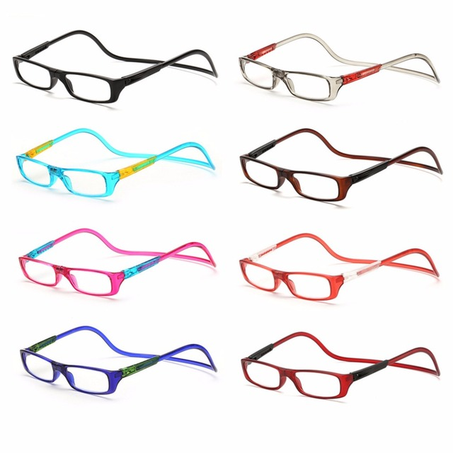 Upgraded Unisex Magnet Reading Glasses Men Women Colorful Adjustable Hanging Neck Magnetic Front presbyopic glasses -Y107