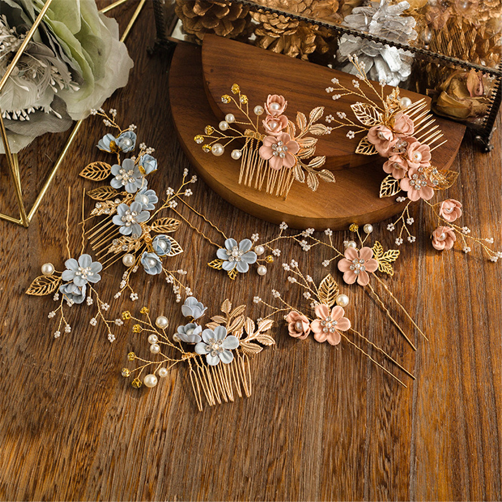 Lavender Flower Hair Wedding Style: Elegant Luxury Purple Flower Bridal Hair Combs Headdress
