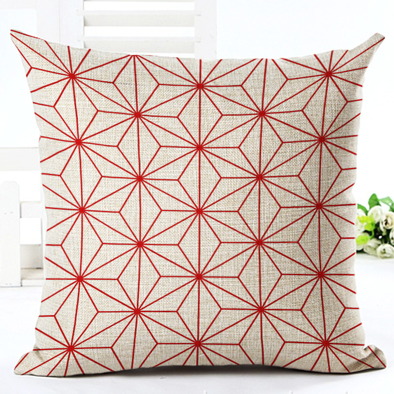 fashion red grid style 4545cm square home decorative pillow lovely heart printed throw pillows - Pillows Decorative