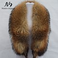 100% Natural Raccoon Fur Collar 130 cm Longo Da Marca Verdadeira Pele Mulheres anel Cachecol Golas De Pele De Guaxinim Genuíno para o Revestimento para Baixo feminino