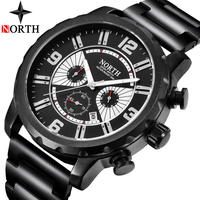NORTH New Mens Watches Top Brand Luxury Chronograph Quartz Watch Men Large Dial Casual Sports Military Watches Relogio Masculino