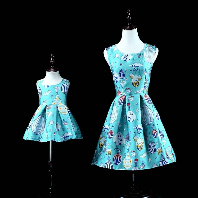 Brand design mom baby dress children cartoon clothes girls birtyday party dress family look mother and daughter matching dresses