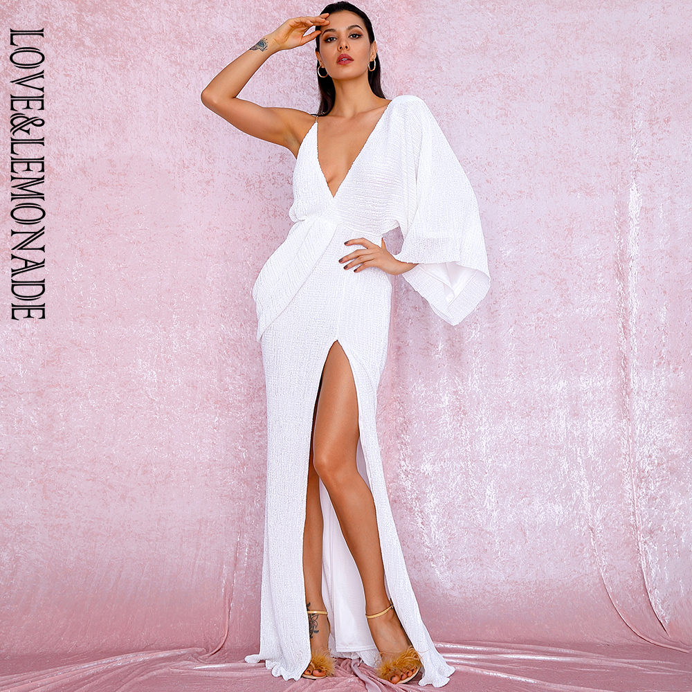 LOVE&LEMONADE Sexy White V-Neck Single Sleeve Sequins Split Party Maxi Dress LM81848 Autumn/Winter