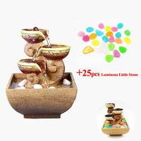 Indoor Water Fountains and Creative Artificial Luminous Little Stone Office Desktop Gift Home Resin Decorative S