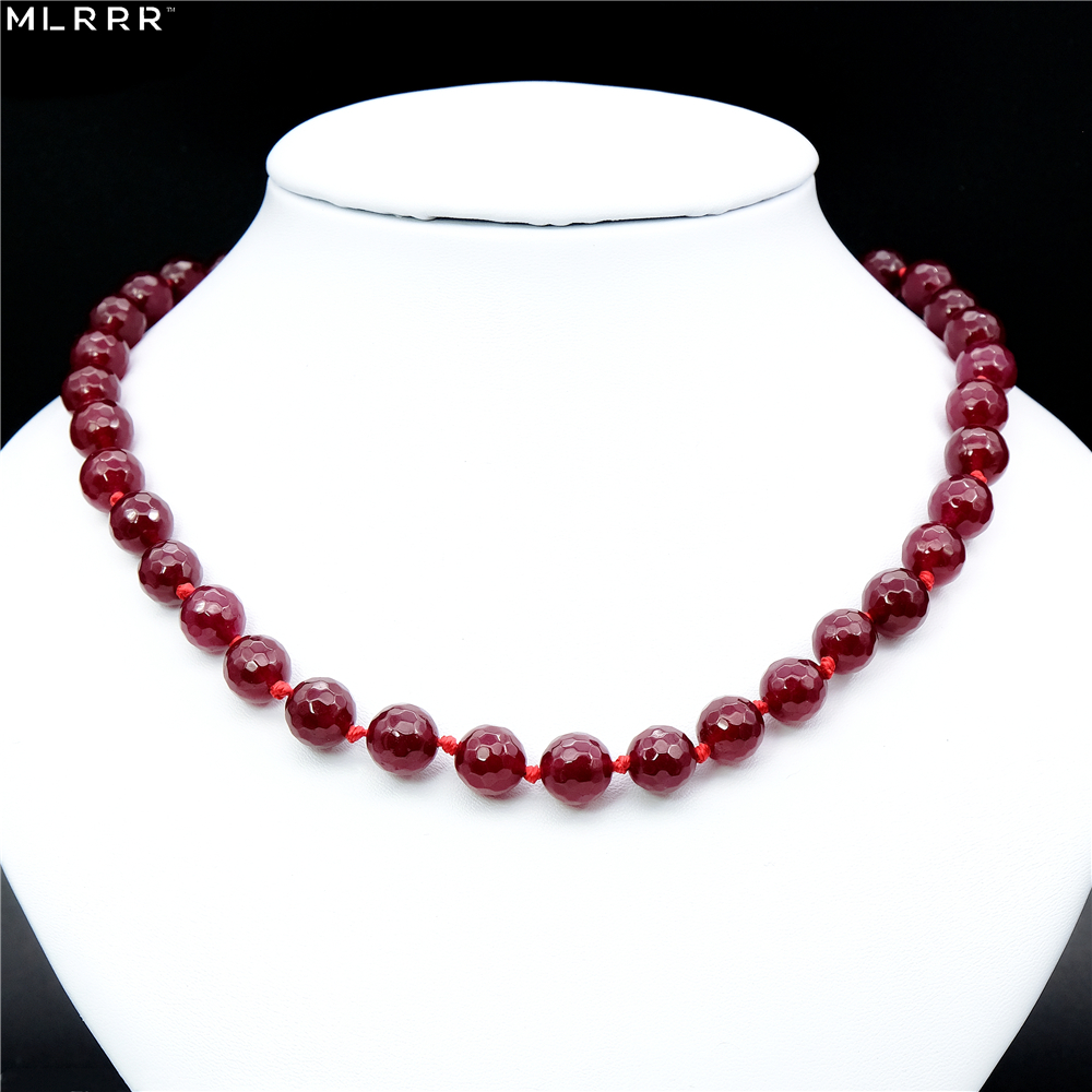 Vintage Classic Natural Stone Jewelry Handmade Simply Deep Red Rubies Beaded Rope Chain Strand Necklace faux leather rope vintage necklace