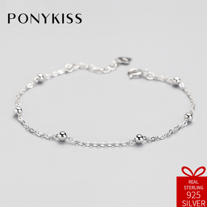 PONYKISS Office Real S925 Sterling Silver Bracelets Women