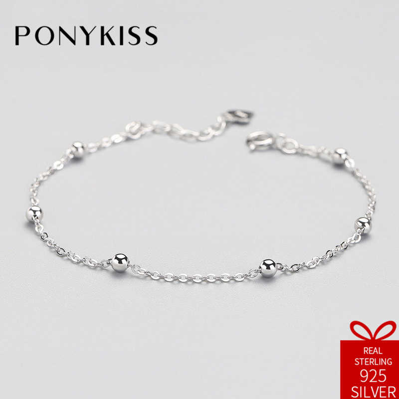 PONYKISS Office Real S925 Sterling Silver Refill Geometric Bracelets Fine Jewelry Women Creative Sweet Birthday Party Gift