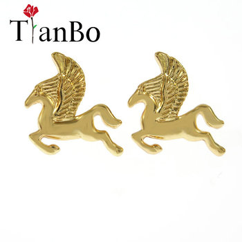 2018 Silver Mythical Pegasus horse Stud Earrings For Women Fashion Cute Jewelry Horse Wing Earrings Party Gift Baby Jewelry image