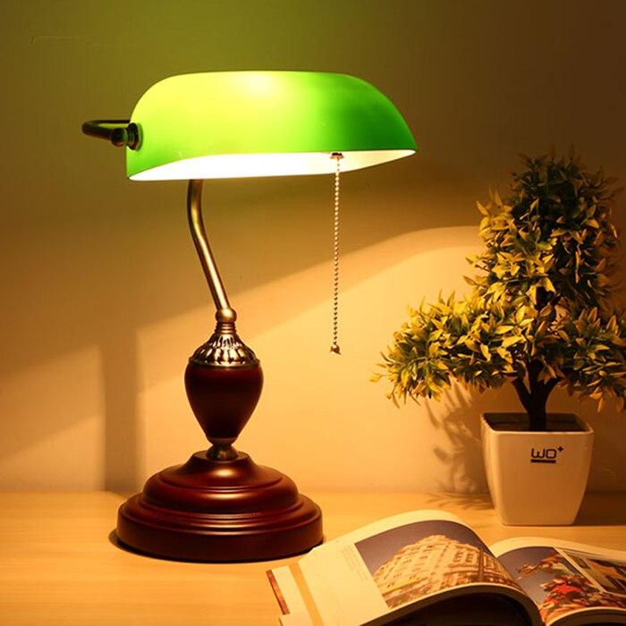 Туда Старый Шанхай Винтаж деревянные настольные лампы зеленая крышка Цзян jieshi настольные лампы изучать древние американский кантри 220 В e27