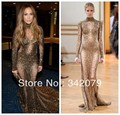 Ph11876 American Music Awards Jennifer Lopez Zuhair Murad Haute couture vestidos De lantejoulas de Ouro vestidos no tapete vermelho