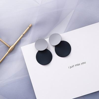 AOMU coréen bleu géométrique acrylique irrégulière cercle creux carré balancent des boucles d'oreilles pour les femmes en métal bosse fête plage bijoux 18
