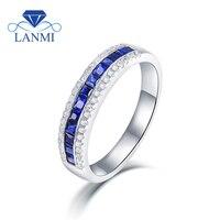Solid 14 К белого золота Обручение кольца 1.80Ct синий корунд обручальное кольцо, кольцо с бриллиантом для продажи SR108
