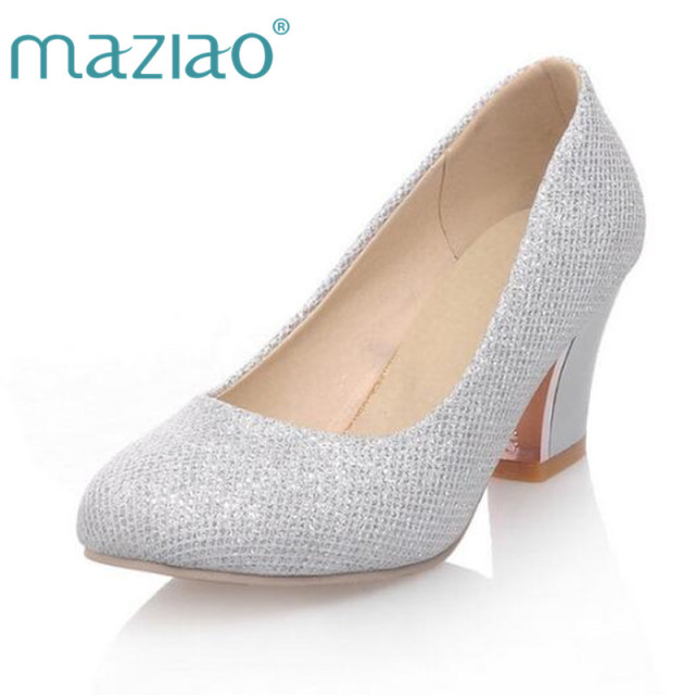 7e1cce48e85a MAZIAO Gold Silver Mary Janes Platform Pumps Shoes Sequined Chunky Heel  High Heel Shoes Wedding Party Pumps Big Size 34-43