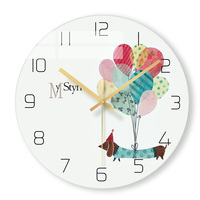 Cute Balloon Round Glass Creative Girl Living Room Wall Clocks Home Decoration Modern Hanging Clocks 12