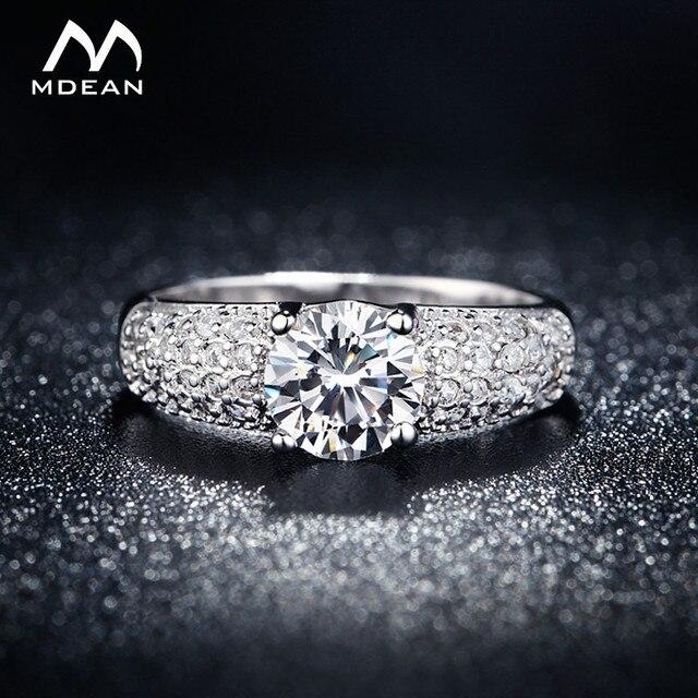MDEAN White Gold Color Rings For Women Wedding Jewelry Bijoux zirconia vintage Accessories Engagement Bague Bijouterie MSR024