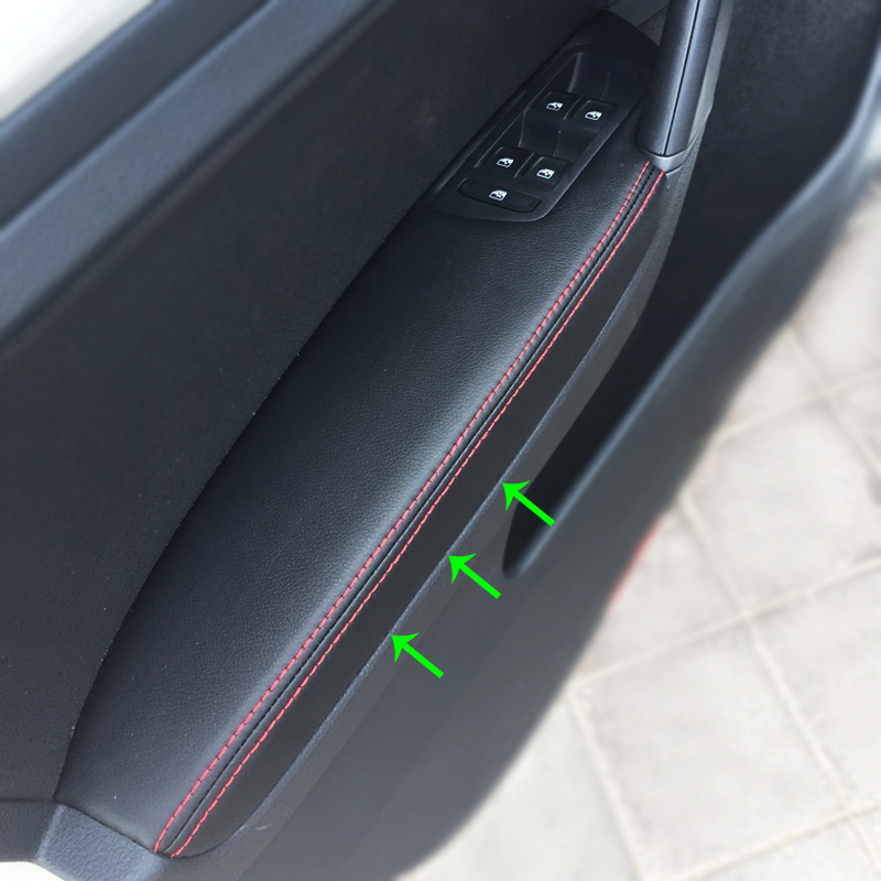 LHD For VW Golf 7 2014 2015 2016 4pcs Car Door Armrest Panel Microfiber Leather Protection Cover Trim-in Armrests from Automobiles & Motorcycles