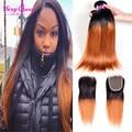Best 7A Ombre Brazilian Straight Hair With Closure 3 Bundles Ombre Human Hair With Closure Virgin Ombre Kanekalon Braiding Hair