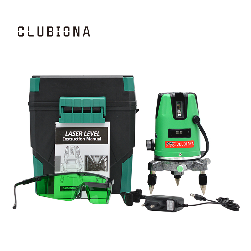 EU plug 360 Degree Self-leveling 3 Lines (2V,1H) 3 Points Rotary Horizontal Vertical GREEN Cross Line Laser Levels купить