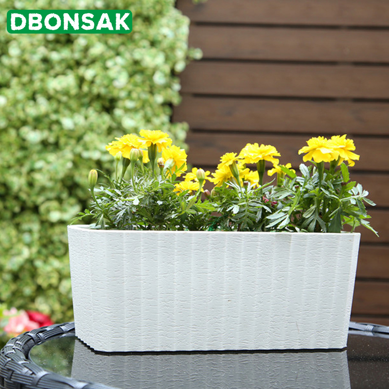Plastic Rectangular Self Watering Window Box With Water Level Indicator White Modern Decorative Planter Pot Set