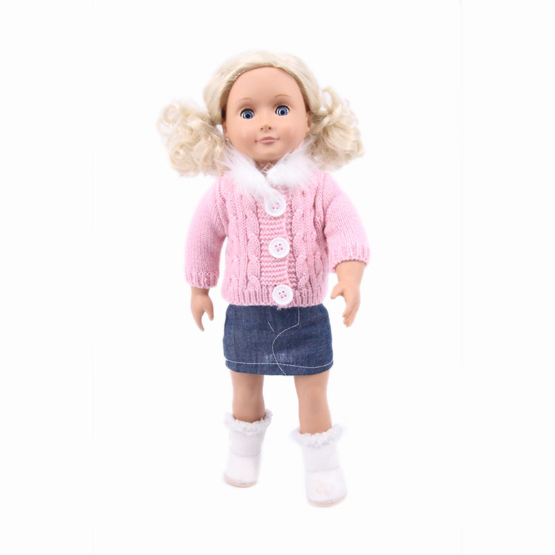 2019 Sping New Style Pink Sweater Doll Clothes For 18 Inch &43cm Baby Doll Accessories Toys For Children Gift
