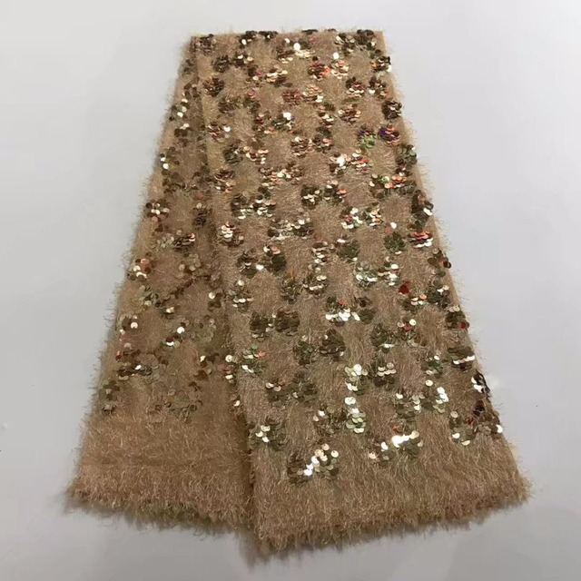 gold sequin fabric tassel fringe for party dresses glitter nigerian lace  fabric 2017 high quality lace 5yard lotJW- 4af215b15e6a
