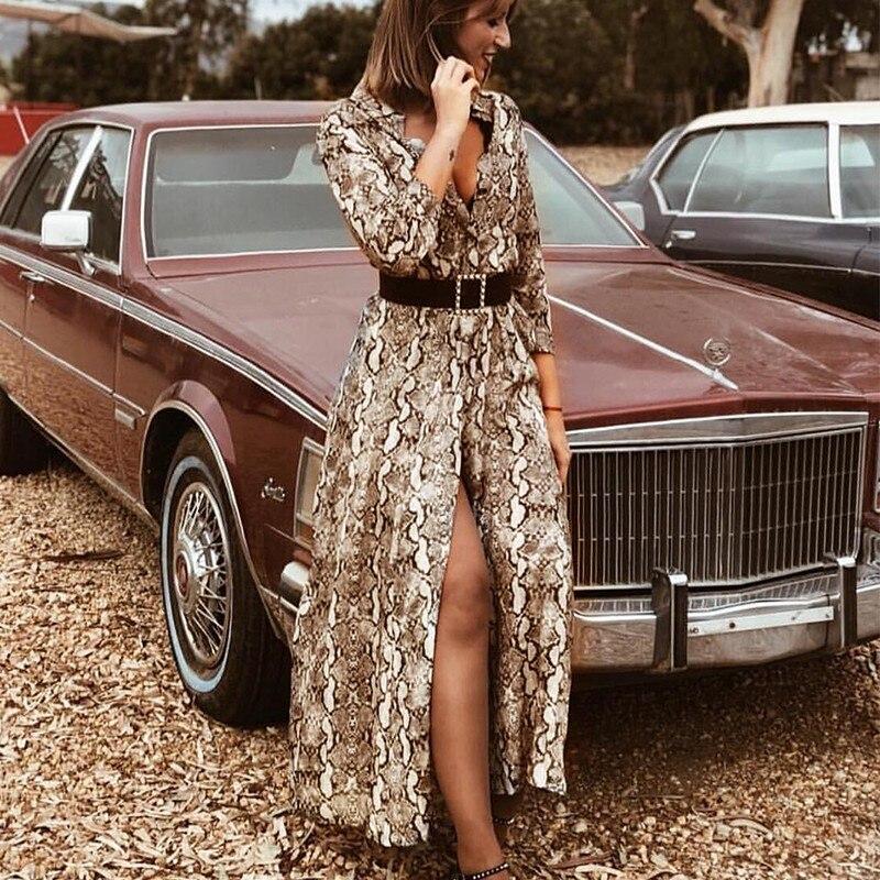 2019 Sexy V Neck Long Sleeve Snake Print Maxi Dress Women Autumn Winter Elegant Long Dresses Casual Party Dress Vestido