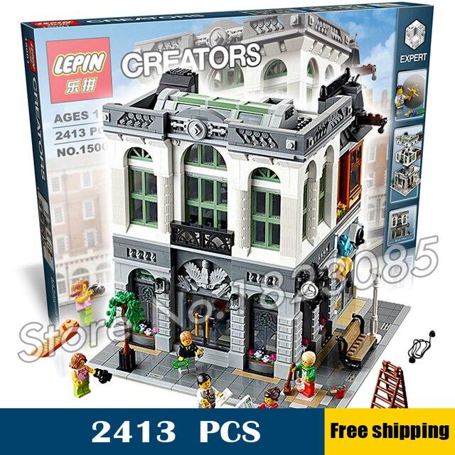 2413pcs 15001 Creator Expert Brick Bank Modular Building Series Kit Model Blocks Toys Office Structure Compatible