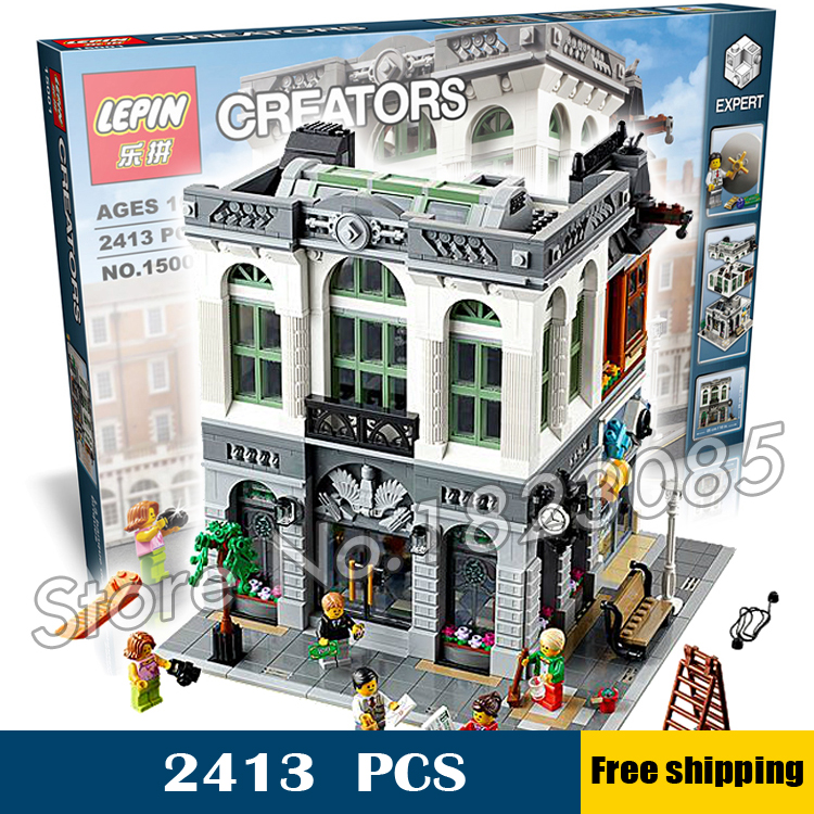 2413pcs 15001 Creator Expert Brick Bank Modular Building series Kit Model Blocks Toys Office structure Compatible With Lego