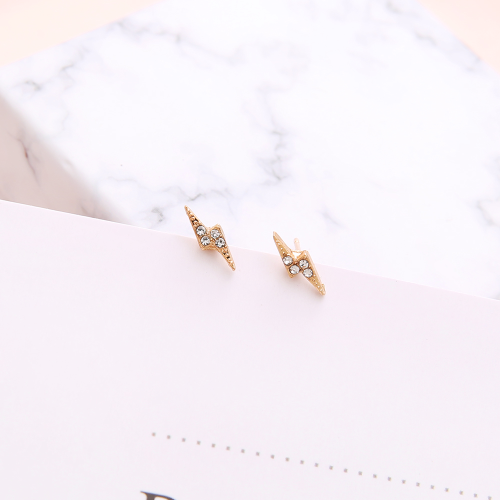 6 Pairs/Set Crystal Lightning Design Small Stud Earrings Set for Women Punk Crown Sun Star Feather Ear Aros Bohemian Jewelry