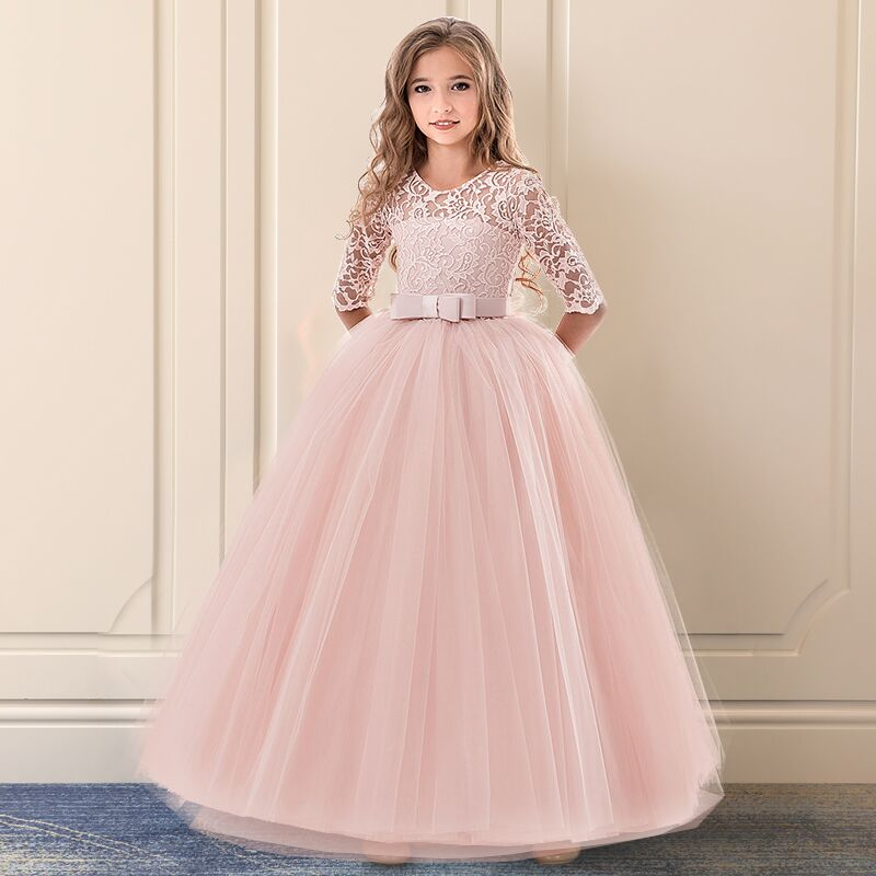 917350251ab3a US $12.84 40% OFF|Flower Girl Lace Wedding Long Dress Children Princess  Prom Gowns Girls Party Wear Teenager Kids Birthday Clothes 8 9 12 14  Years-in ...