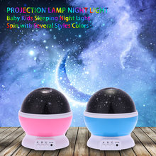LED Starry Sky Rotating Night Light Moon USB Ball Projector Lamp 360 Degree Multi-colored Romantic Children Baby Festival Gift(China)