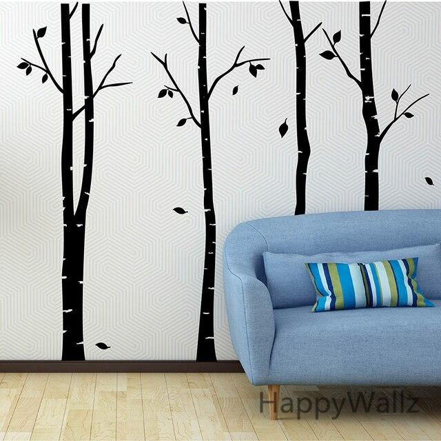 Stickers Parete Albero.Us 36 08 5 Di Sconto Birch Tree Wall Sticker Famiglia Albero Stickers Murali Diy Grande Betulla Albero Wallpaper Diy Smontabile Della Decorazione