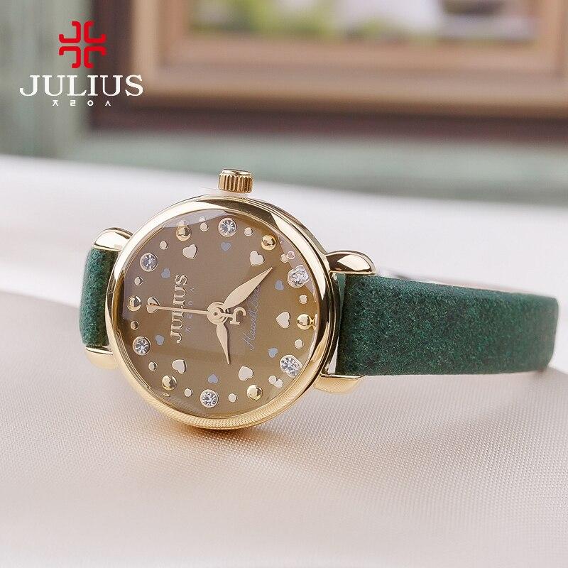 New Julius Lady Women's Watch Japan Quartz Hours Cute Heart Fashion Dress Leather Bracelet Girl Christmas Birthday Cute Gift Box цена и фото