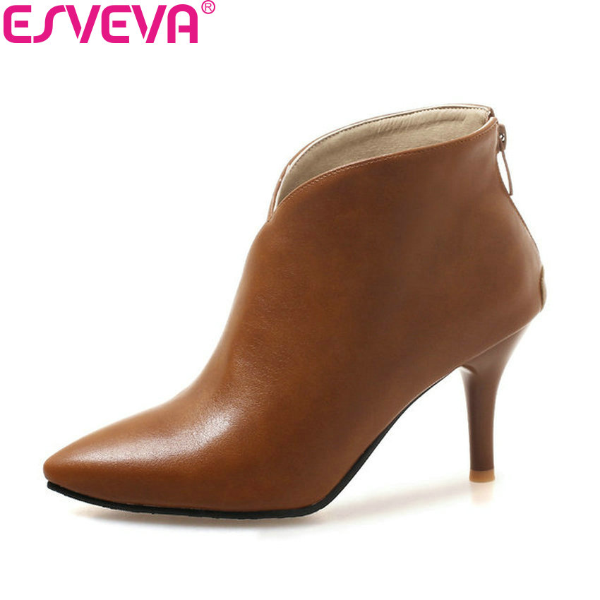ESVEVA 2019 Women Shoes Pointed Toe Boots Zipper Ankle Boots Thin High Heels Short Plush Autumn Shoes PU Boots Woman Size 34-43 esveva 2018 women boots zippers black short plush pu lining pointed toe square high heels ankle boots ladies shoes size 34 39 page 5