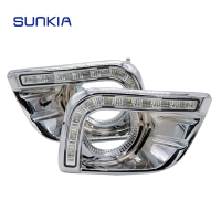 SUNKIA LED DRL Daytime Running Light for Prado DRL Prado FJ150 LC150 2010 2013 Land Cruiser 2700/4000 with Fog Lamp Hole