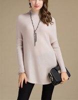 100%goat cashmere women's fashion semi high collar long pullover sweater dress coat irregular hem S 3XL