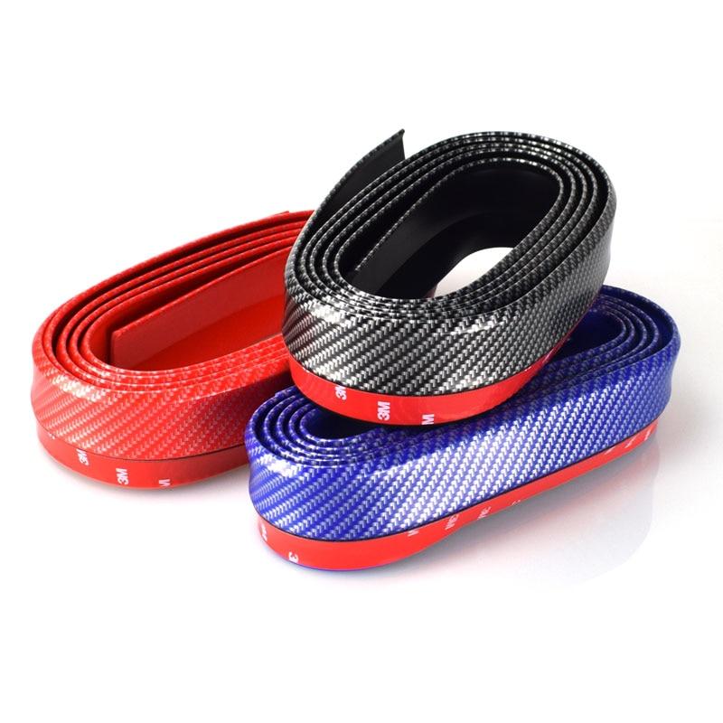2.5M Auto Carbon Fiber Car-Styling Strips Mouldings DIY Wrap Protector Protcetion Front Bumper Scratches Guard Lip Rubber Clips