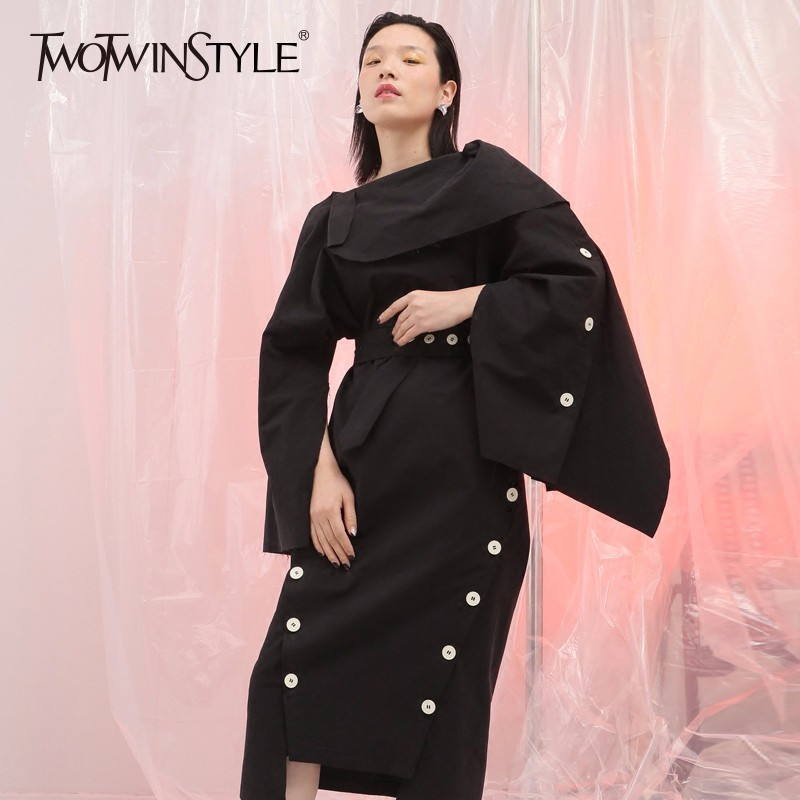Здесь продается  TWOTWINSTYLE Irregular Dress For Women Split Patchwork Backless Tunic High Waist Midi Dresses Summer Fashion Harajuku Clothing  Одежда и аксессуары