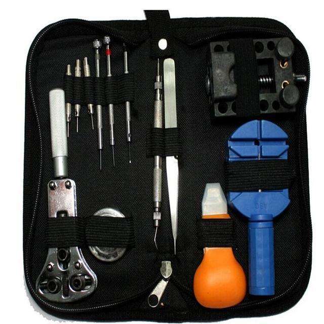 Nueva Práctico reloj de mesa reloj de herramientas de reparación de herramienta kit correa de abajo de la apertura inferior