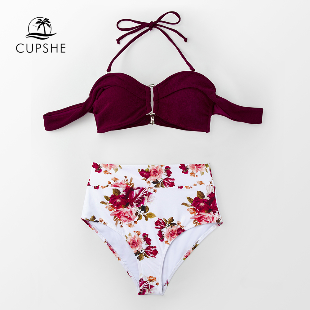 CUPSHE Burgundy And Floral Print High-waisted Bikini Set 2020 Women Sexy Off-shoulder Push Up Two Pieces Swimsuits