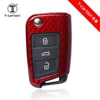 Carbon Fiber Car Key Cover Shell For VW Golf 7 MK7 Skoda Octavia A7 Seat Leon Ibiza Flip Folding Remote Key Case Accessories