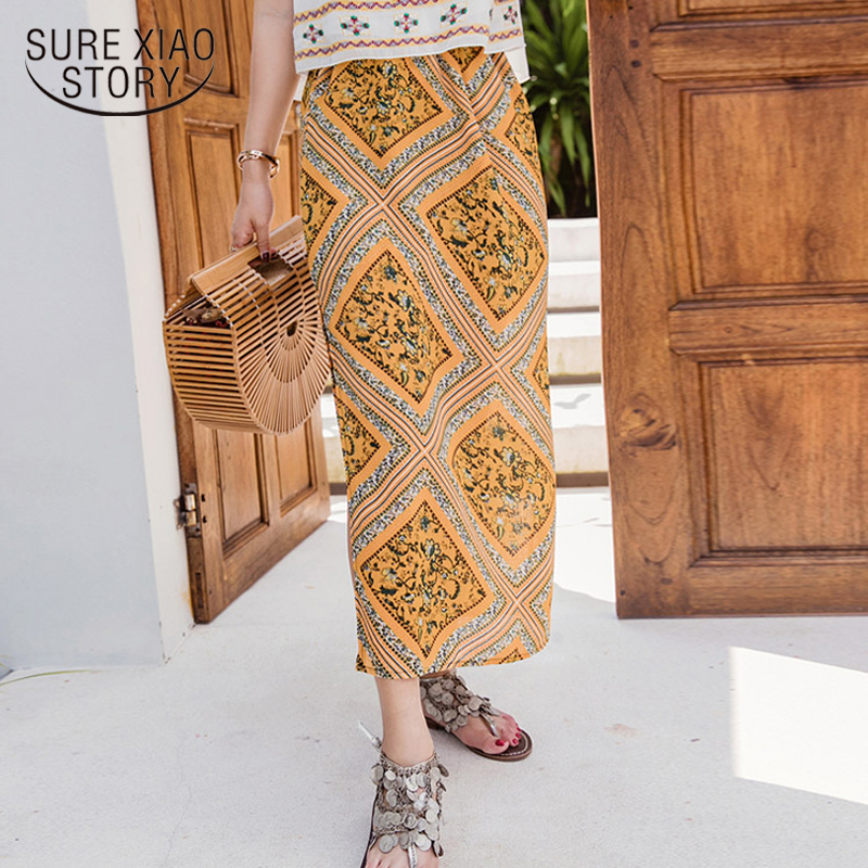 1303fdf126576 New 2018 Women Skirts Bohemian Beach Holiday Floral Skirt Casual Long  Chiffon Skirts Empire Straight Female Clothing D790 30