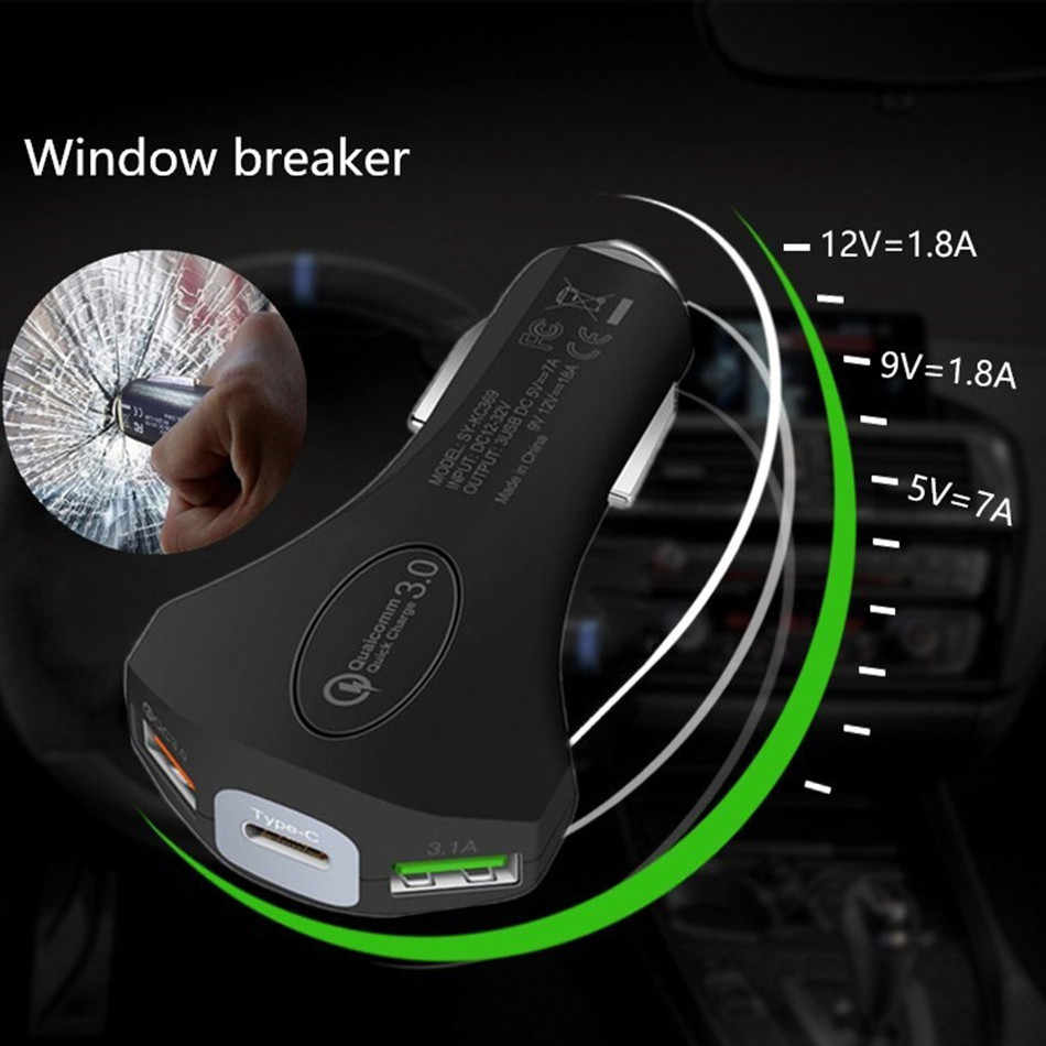 3A Fast USB Car Charger For IPhone Xiaomi Samsung Huawei Car USB Charger Adapter Car Charging Mobile Phone Charger/safety Hammer