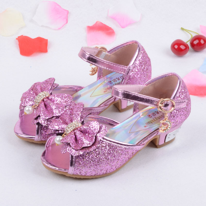 Sequin Glitter Children Elsa Shoes Girls High Heels Pumps Kids Snow Queen  Party Beading Dance Shoes For Girls Sandals With Bow-in Sandals from Mother    Kids ... b2327c072bbf